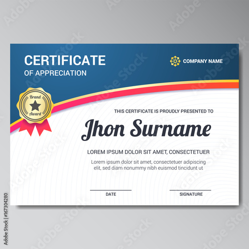 Modern Certificate Template With Golden Star Badge Buy This Stock