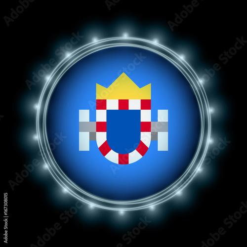 Melilla flag in blue lightning