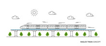 Maglev Rail Train Vector Illus...