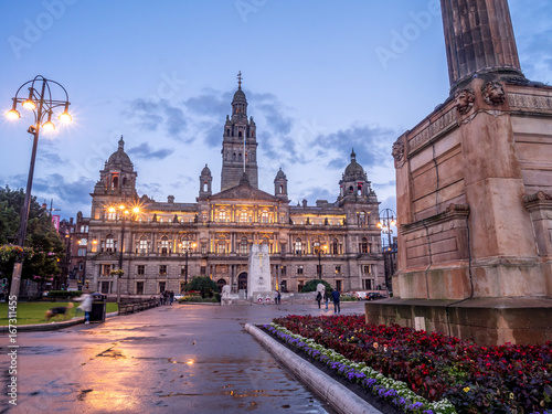 City Chambers in George Square in Glasgow Scotland at night.