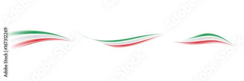 Fotografie, Obraz  Onda astratta tricolore italiano - Set. Italy flags