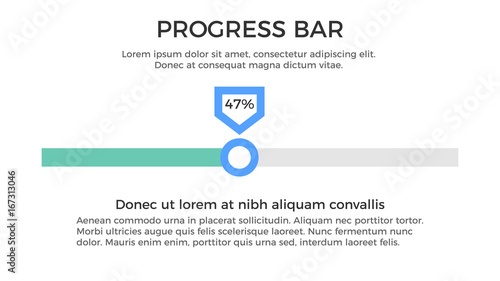Progress Bar Infographic Element - Business Vector Illustration in Flat Design Style for Presentation, Booklet, Website, Presentation etc. Isolated on the White Background.