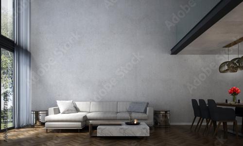 3d Rendering Interior Design Of Loft Living Room And Dining Room And Concrete Wall Texture Compre Esta Fotografia E Explore Imagens Semelhantes No Adobe Stock Adobe Stock