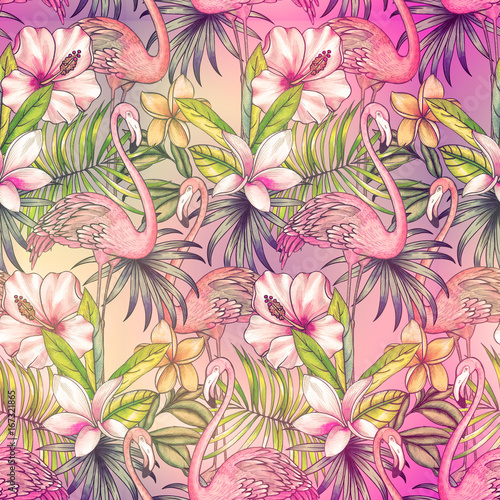 wzor-z-tropikalnych-kwiatow-i-czerwonak