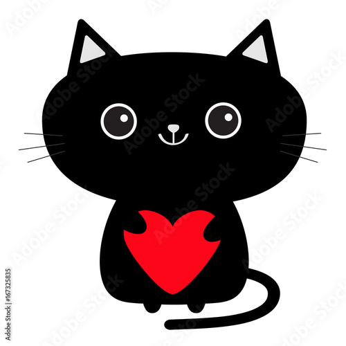 Cute black cat icon holding red heart. Funny cartoon character. Kawaii animal. Tail, whisker, big eyes. Kitty kitten. Baby pet collection. White background. Isolated. Valentines Day. Flat design. Wall mural