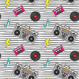 Fototapeta Młodzieżowe - Seamless pattern with pop art stickers with tape recorder, cassette, vinyl record on modern texture with black stripes.