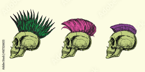Fotografía  Iroquois types on skull profile: pointed, breakwater and short, hand drawn doodl
