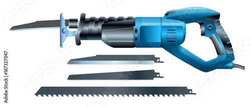 Foto stock vector reciprocating saw and saw blade