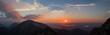 canvas print picture - Panorama Sonnenuntergang am Herzogstand, Oberbayern