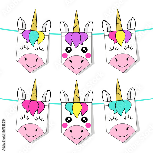 Cute childish bunting flags with magic rainbow hair unicorns