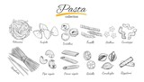 Italian Pasta set. Different types of pasta. Vector hand drawn illustration. Isolated objects on white. Sketch style - 167333820
