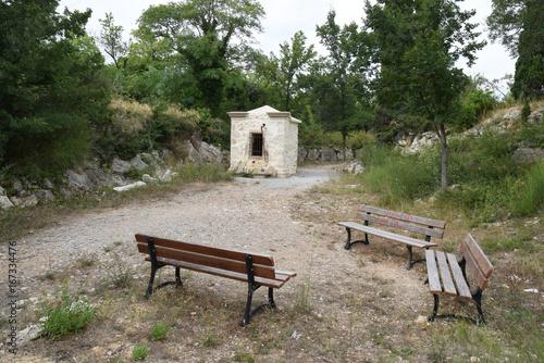 Foto op Canvas Fontaine La fontaine de Loin à Leucate, Aude, Languedoc, Occitanie
