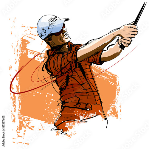 Photo sur Toile Art Studio Golf player with cap and sunglasses