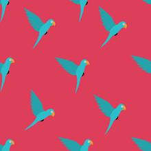 Seamless Pattern With Blue Bird