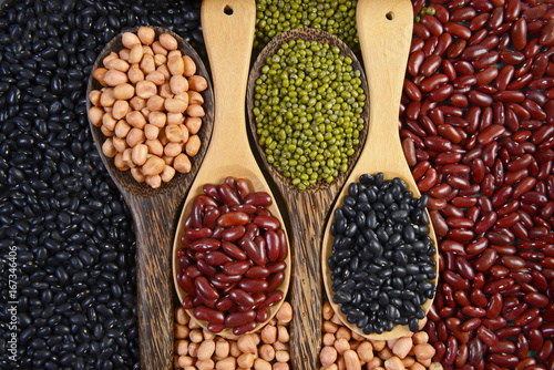 Seeds beans(Black Bean, Red Bean, Peanut and Mung Bean) useful for health in wood spoons on grey background.