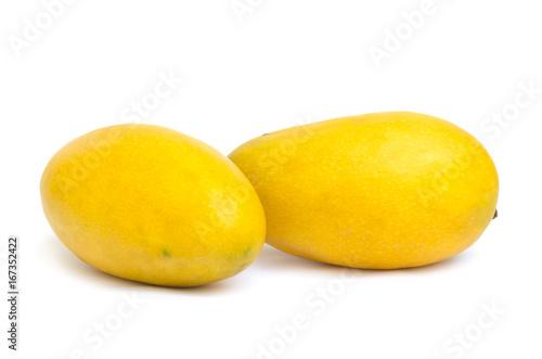 Fotografia, Obraz  Two yellow ripened mangoes isolated on white background