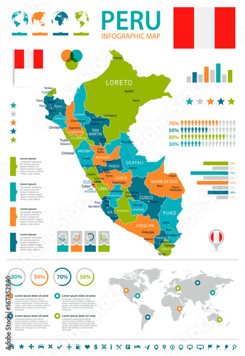 Fotografie, Obraz  Peru - infographic map and flag - illustration