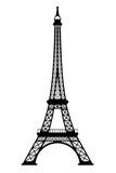 Fototapeta Fototapety z wieżą Eiffla - Eiffel tower black silhouette on white background, 3D rendering