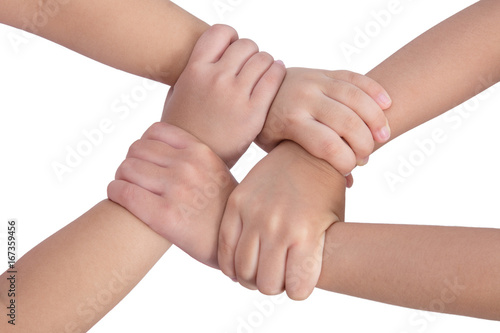 Four child's hands crossed and holding each other Canvas Print