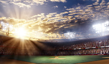 Professional Baseball Arena Grande, Sunset View, 3d Rendering