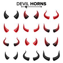 Devil Horns Set Vector. Good F...