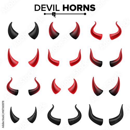 Obraz na plátne Devil Horns Set Vector