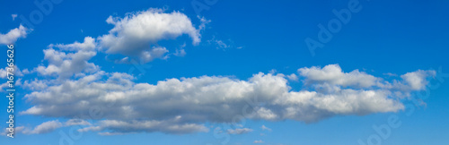 Foto op Canvas Luchtsport Blue sunny sky with white clouds landscape banner, huge panorama