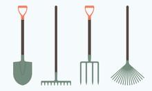 Shovel Or Spade, Rake And Pitc...