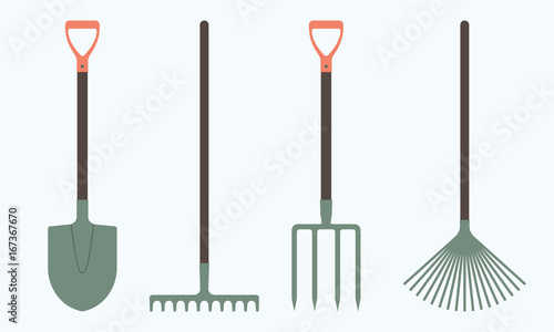 Obraz na plátně Shovel or spade, rake and pitchfork icons isolated on white background