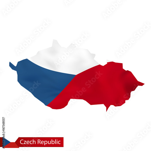 Czech Republic map with waving flag of Czech Republic. Poster