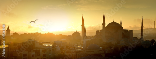 Foto op Canvas Monument Hagia Sophia at sunrise