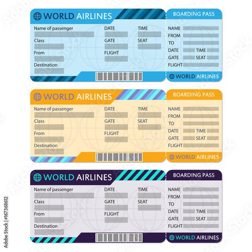 airline or plane ticket set boarding pass blank and airplane ticket