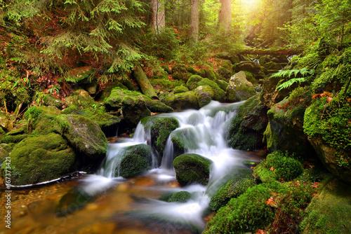 Obraz Wodospad na górskim strumieniu w Parku Narodowym Sumava, Czechy - fototapety do salonu