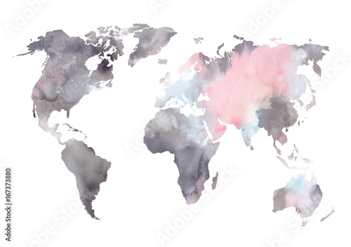 Watercolor vector illustration. Colorful World map. Perfect for wedding invitations, greeting cards, prints
