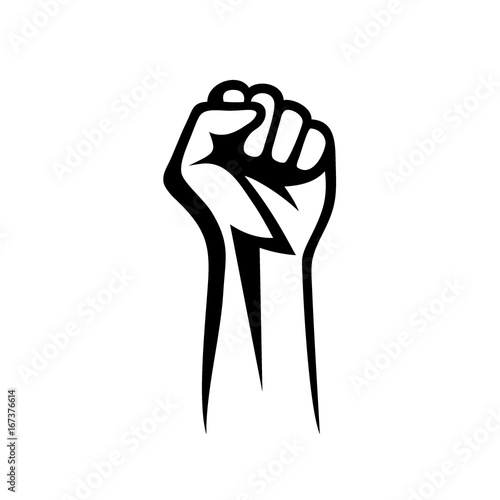 Canvastavla  Fist male hand, proletarian protest symbol. Power sign