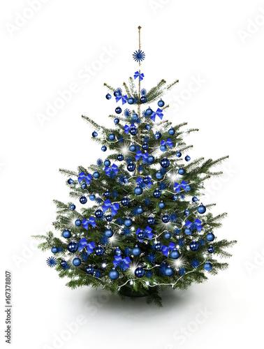 blau geschm ckter weihnachtsbaum kaufen sie dieses foto und finden sie hnliche bilder auf. Black Bedroom Furniture Sets. Home Design Ideas