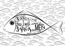 Fishers Of Men. Bible Letterin...