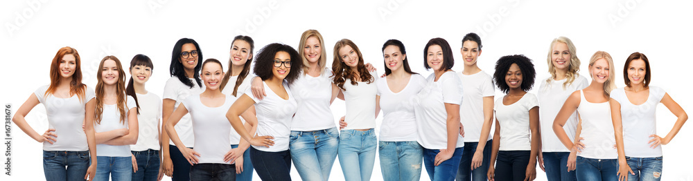 Fototapety, obrazy: group of happy different women in white t-shirts
