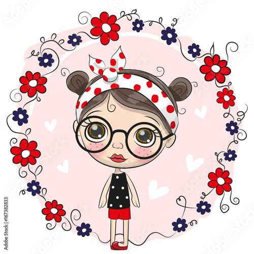 Fototapeta Cute Cartoon Girl and flowers obraz na płótnie