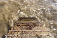 Ocean Water Flowing On A Stair...