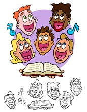 Choir Or Glee Club Singing Happily In Harmony. Comes With Black Outline Versions.