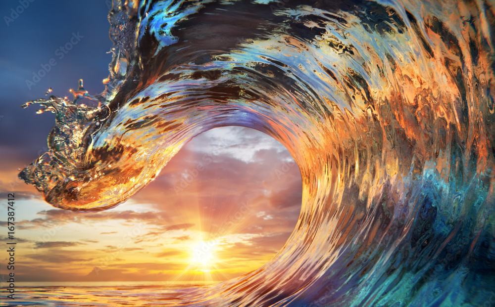 Fototapety, obrazy: Colorful Ocean Wave. Sea water in crest shape. Sunset light and beautiful clouds on background