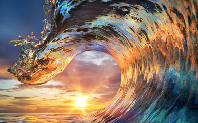 Obraz na Szkle Do sypialni Colorful Ocean Wave. Sea water in crest shape. Sunset light and beautiful clouds on background