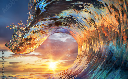 Poster Zee zonsondergang Colorful Ocean Wave. Sea water in crest shape. Sunset light and beautiful clouds on background