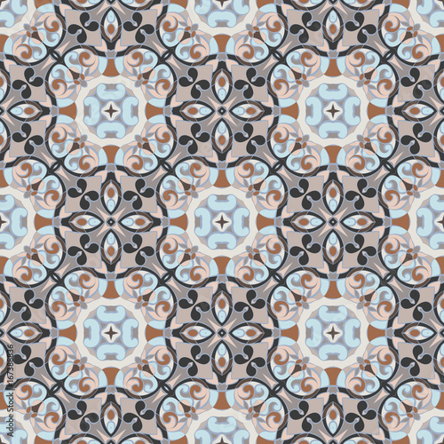 Printed kitchen splashbacks Moroccan Tiles Abstract Oriental pattern. Seamless symmetrical pattern of swirls, lines and stars. Vector illustration.