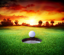 Ball In Hole - Golfing - Target Concept