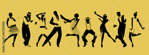 Obraz Silhouettes of nine people dancing Charleston - fototapety do salonu