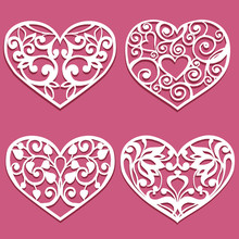 Set Of Laser Cut Hearts. Collection Stencil Lacy Hearts With Carved Openwork Pattern. Template For Layouts Wedding Cards, Invitations. Vector Floral Heart
