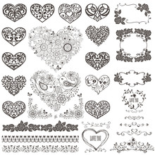 Big Collection Of Decorative Hearts And Vintage Elements. Vector Illustration