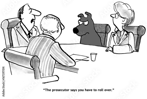 Fotografie, Obraz  Legal cartoon about a dog who gets off if it 'rolls over'.
